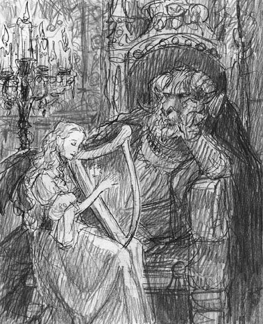 "Final rough sketch of ""Beauty and the Beast"""