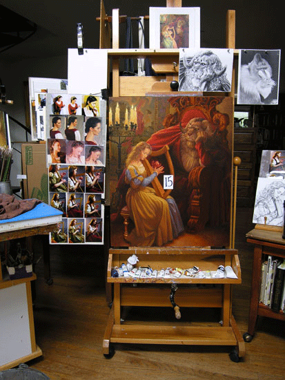 Studio shot - at the easel with reference all around