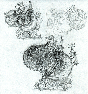 "Thumbnail sketch for ""The Man in the Moon"""