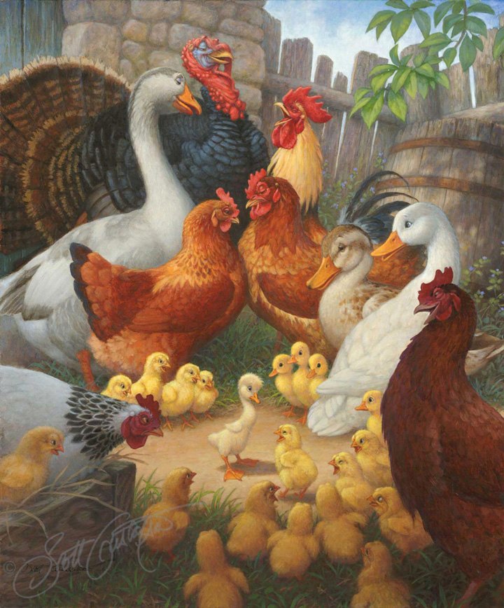 """The Barnyard Scene"" from The Ugly Duckling. Oil on panel, approx. image size 20"" x 24."""