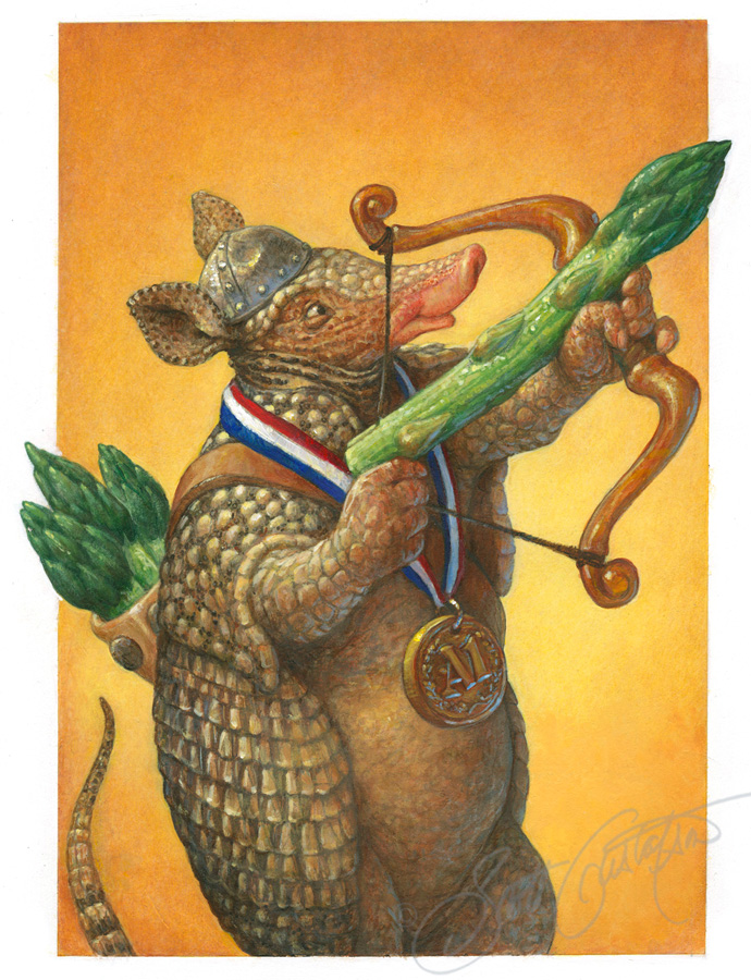 """Armadillo and Asparagus"" from Alphabet Soup. Acrylic on Canson paper, 9.25"" x 14."""