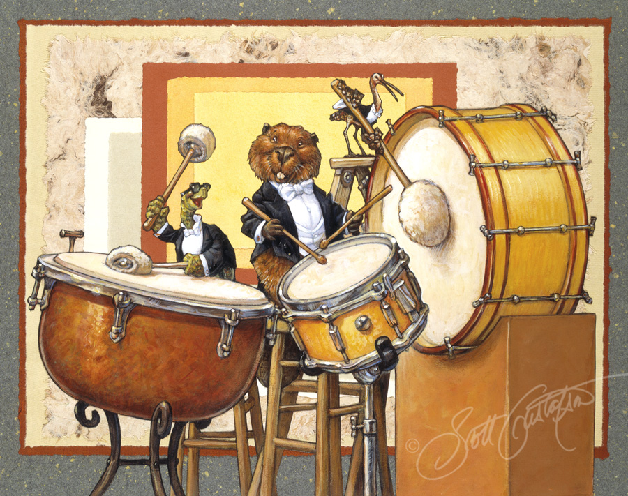 """3 Drums"" from Animal Orchestra - acrylic and paper collage, approx.: 20"" x 15.""   Drum section: Mr. Turtle, Mr. Beaver, Ms. Curlew"