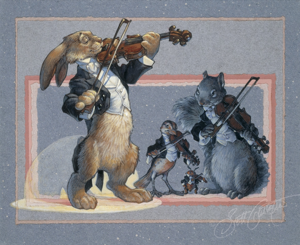 """4 Violins"" from Animal Orchestra - acrylic and paper collage, approx.: 20"" x 15.""   Violins: Mr. Rabbit, Mr. Beetle, Ms. Meadowlark and Mr. Squirrel"