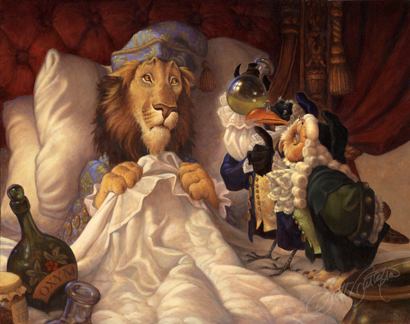 """""""The Imaginary Invalid,"""" based on the story by Molière, oil on panel, approx. 19"""" x 15."""""""