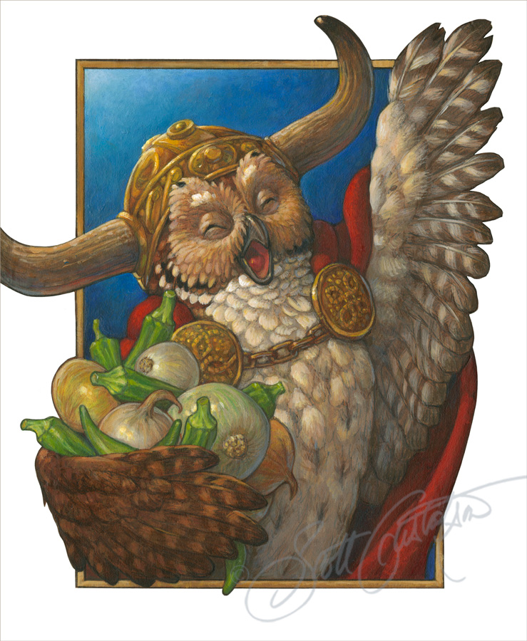 """Owl, Onions and Okra,"" from Alphabet Soup, acrylic on paper, approx. 12"" x 14.""  ""Owl offered oodles of onions and okra, and hooted out opera as well!"""
