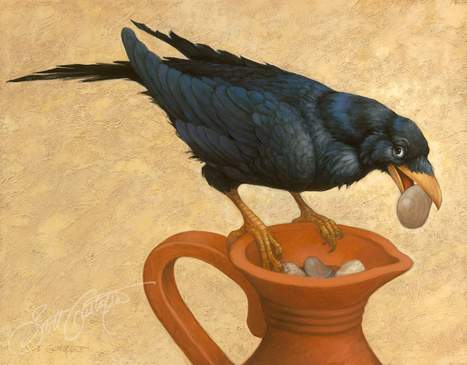 """The Crow and the Pitcher"" oil on panel, approx. 14"" x 10."" One of the fables coming soon in Classic Storybook Fables!"