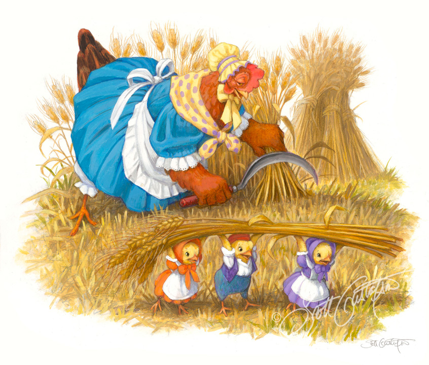 """""""Who will help me Harvest the Wheat?,"""" from The Little Red Hen,oil on panel, 12"""" x 10."""" in Classic Storybook Fables!"""