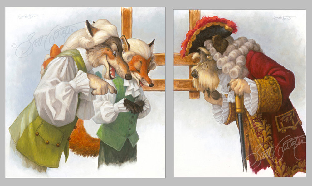 """The Scoundrel Weavers"" and ""The Minister Inspects the Loom,"" from The Emperor's New Clothes, both oil on panel, (left: 13"" x 14.5"", right: 11' x 14"") in Classic Storybook Fables!"