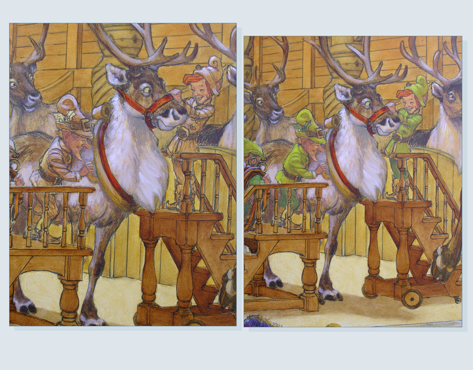 31 - Elves bridling reindeer 1