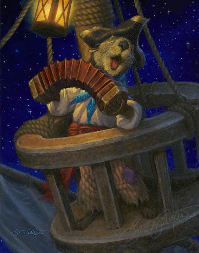 """Sea Otter Serenade,"" oil on panel, 11"" x 14"""