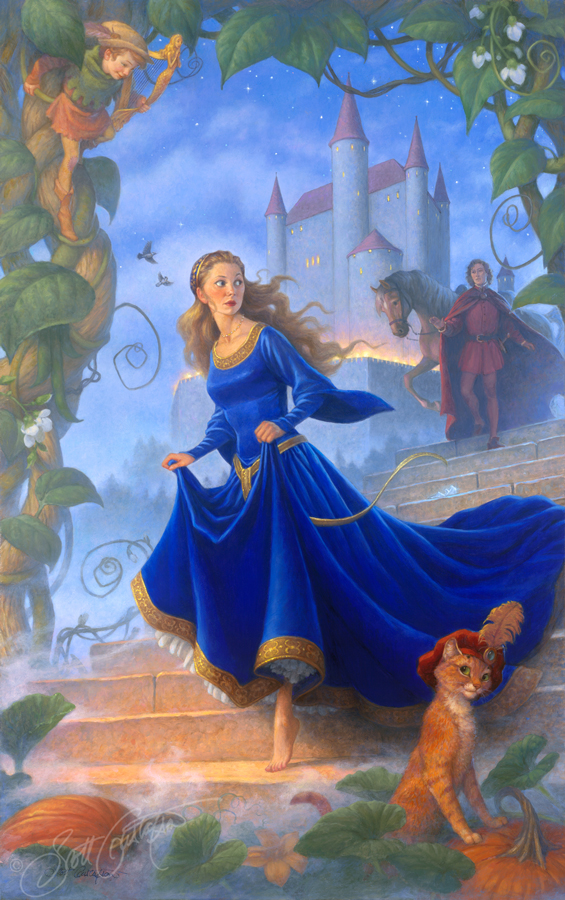 """Cinderella and the Sorcerer's Daughter."" oil on panel, approx. 19"" x 31."" Original painting sold, but      available as a Studio print!"