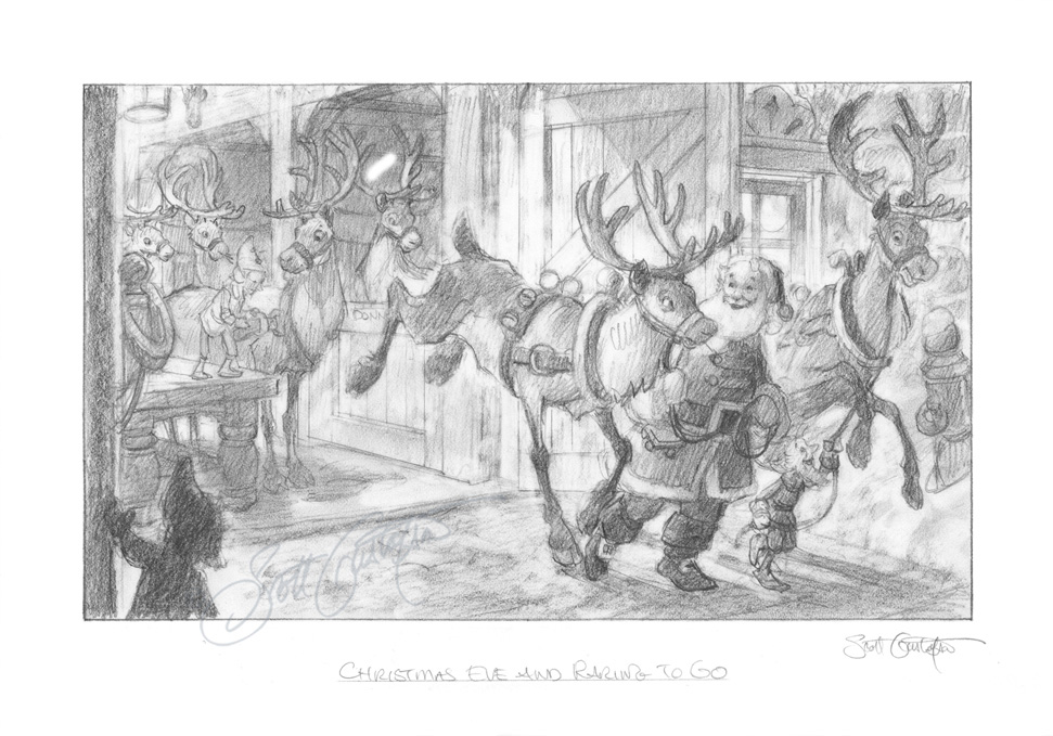 "Here's what Scott's sketch for ""Christmas Eve and Raring to Go!"" looked like. This drawing, along with several other sketch ideas were shown along with Scott's price estimates for the final paintings. Once this drawing was selected, Scott began work on the final oil painting. See the      METHODS      section for a more detailed step-by-step progression."