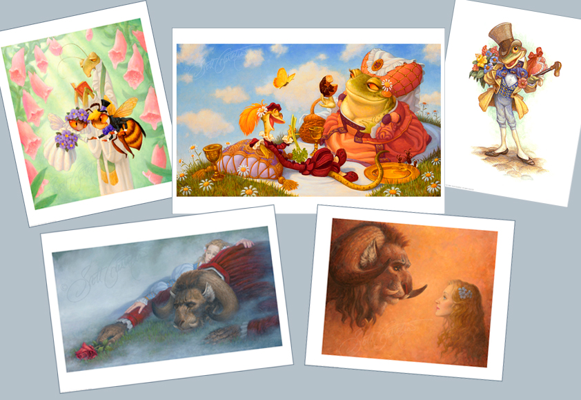 Save on these special Studio prints this Valentine's week! Images - clockwise from top left: Fiddle-de-Dee, Jack Sprat, A Frog He Would A-Wooing Go, Beauty Finds the Beast and Beauty Looking at the Beast. See details below!