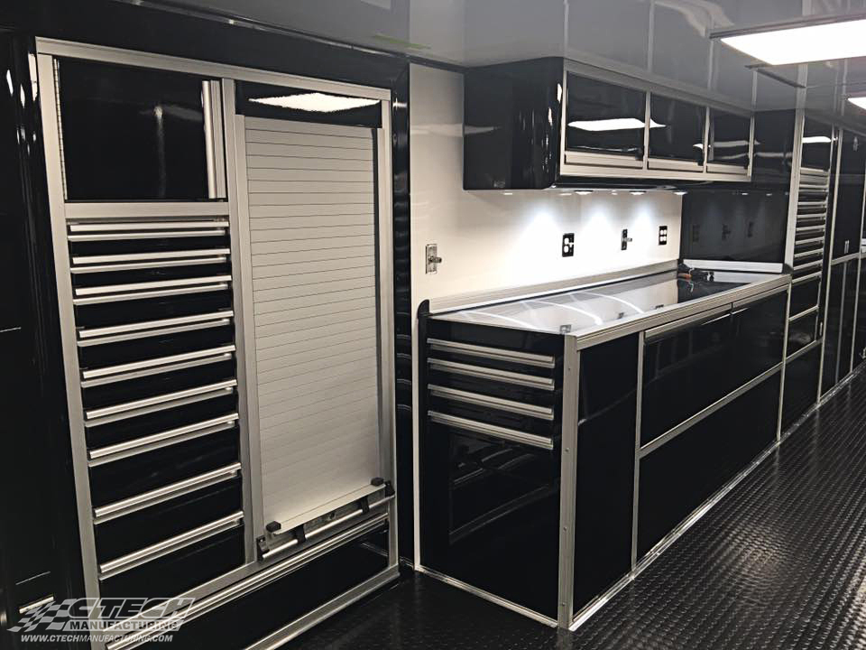 No storage space goes to waste in a CTECH cabinet system! There are doors, drawers, and sliders going at all different angles in this snapshot of Bloomquist Racing's TurnKey Industry trailer, and for good measure because they're all serving a specific purpose. BOM 31767