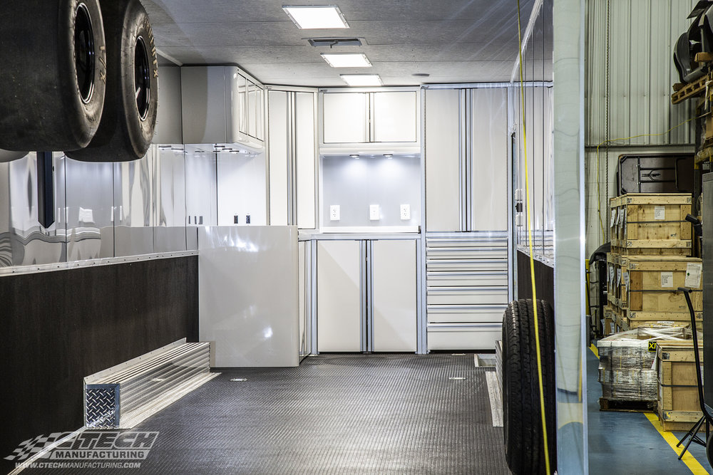 Check out Brina Splingaire's CTech setup inside her race hauler! Your trailer is a mobile headquarters, and it should function like one! CTECH builds custom cabinets for racing teams big and small. BOM 43611