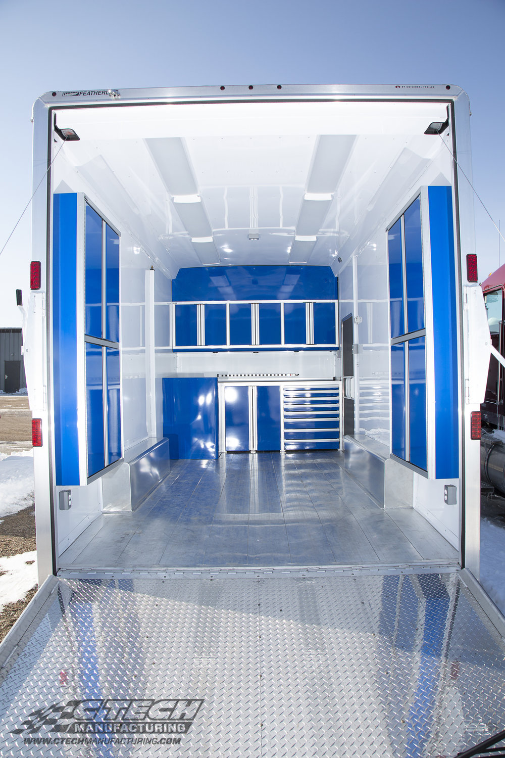 Dedicated trailer storage is often overlooked, but adding lightweight CTECH P Series cabinets to your trailer are a quick and easy way to squeeze more storage potential out of your limited space, effectively adding workspace capability. Optional LED lighting is also a great add-on for low-light loading/unloading. BOM 43753