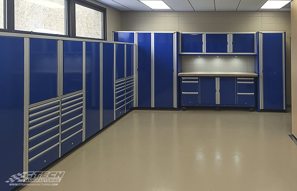 Snag-free, flush-faced CTECH cabinets provide a sleek, modern storage solution that works especially well in larger storage applications. This is a look inside NorthCenrtal Technical College's welding supply stock room. BOM 22236