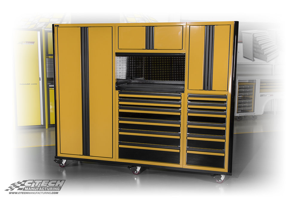 Standard CTECH cabinets are available in 10 striking powder coat colors, however, any product can be customized extensively to meet nearly any specification. Your garage is a sacred place, and the cabinets inside should reflect that! BOM 36495 Customer: Mary Turner