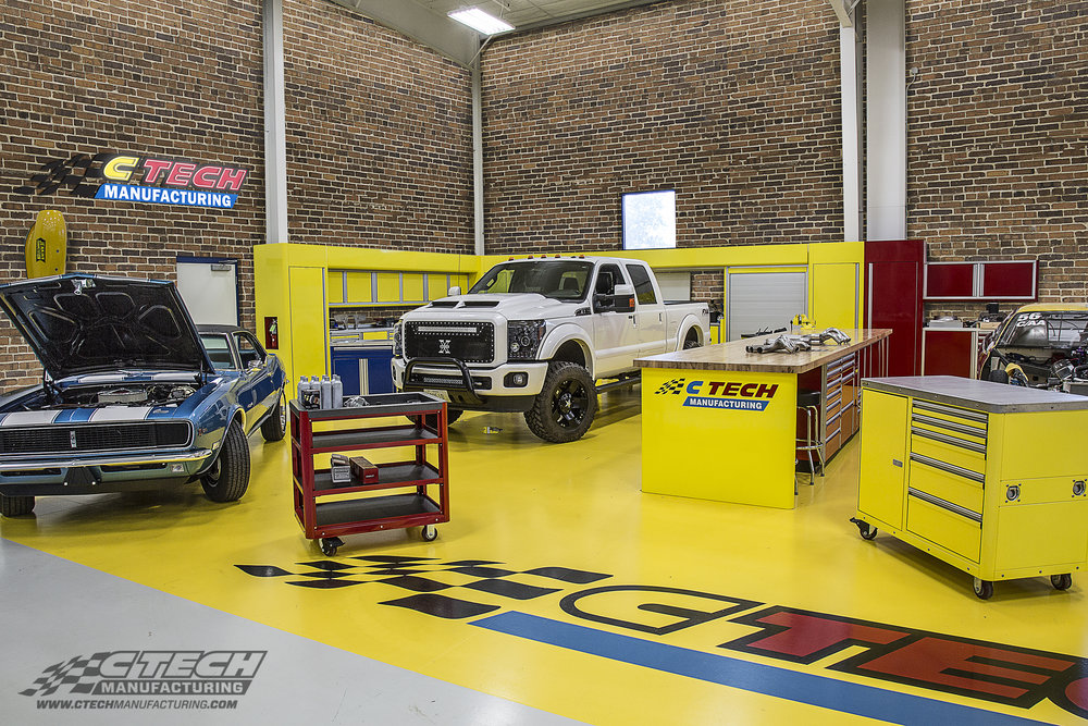 Showroom quality meets storage excellence with CTECH cabinet systems, heavily customizable to further match your vehicles, surroundings, and taste. If standard cabinets just won't cut it, custom configurations are virtually limitless! BOM 13517 Customer: Greenheck Racing