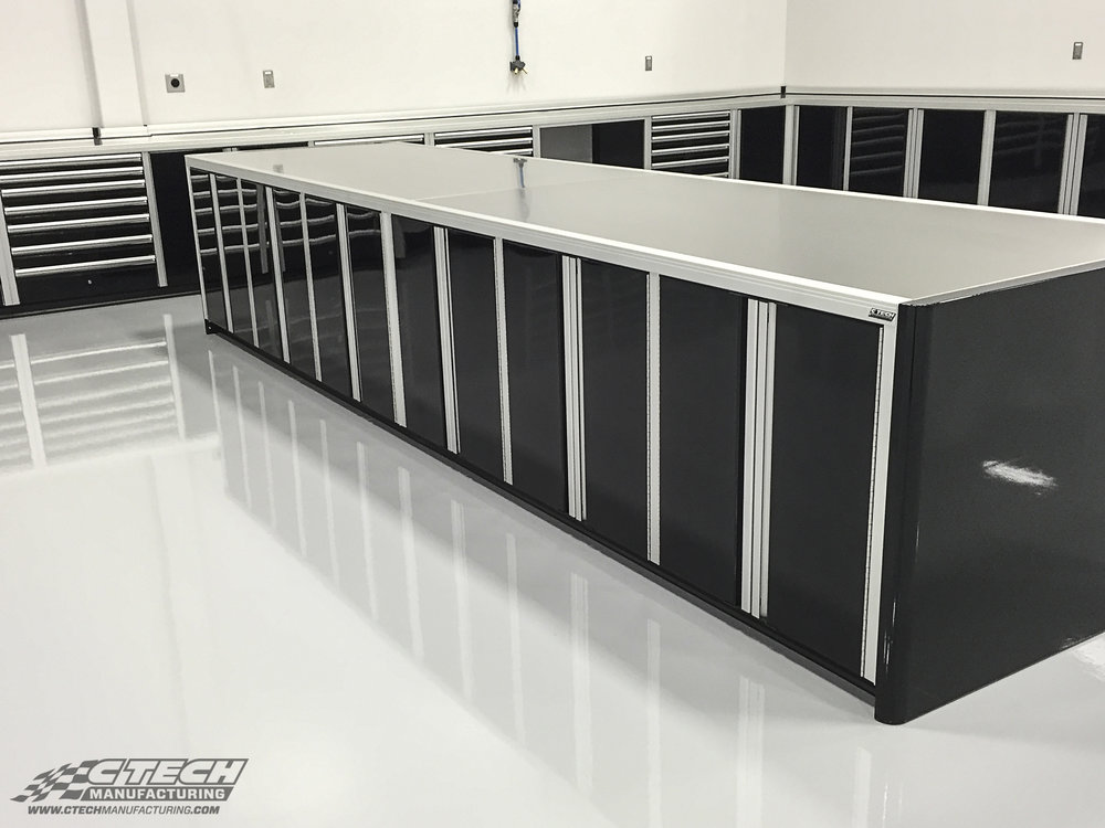 HAAS F1's biggest secret; organization! CTECH shop cabinets are built on a design foundation that optimizes workspace; our storage systems sport a professional look while working hard to provide unmatched access to equipment/tools and ample worktop area. BOM 27903