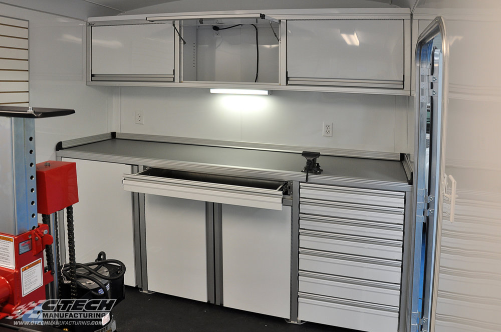 Econo Series trailer cabinets from CTECH are available in standard configurations that make it easy to choose the right fit for your trailer. Accessories like lighting, clamps, venting, locks, electrical inlays, and many others are readilly available. BOM 12930 Customer: Knapheide / John Deere