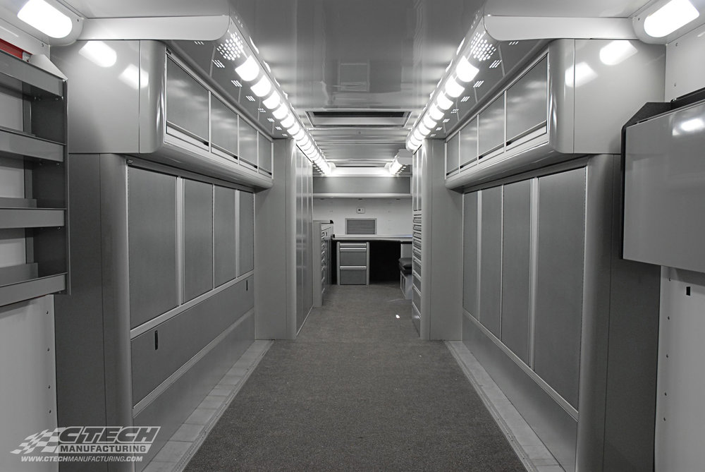 The holy grail of trailer storage combines lightweight materials, contemporary aesthetics, optimal and adjustable storage, and security into one package. At CTECH, we provide mobile cabinets that exceed each of those demands in style. Our products work just as good on the move as they do in world-class racing shops and workstations. BOM 5395
