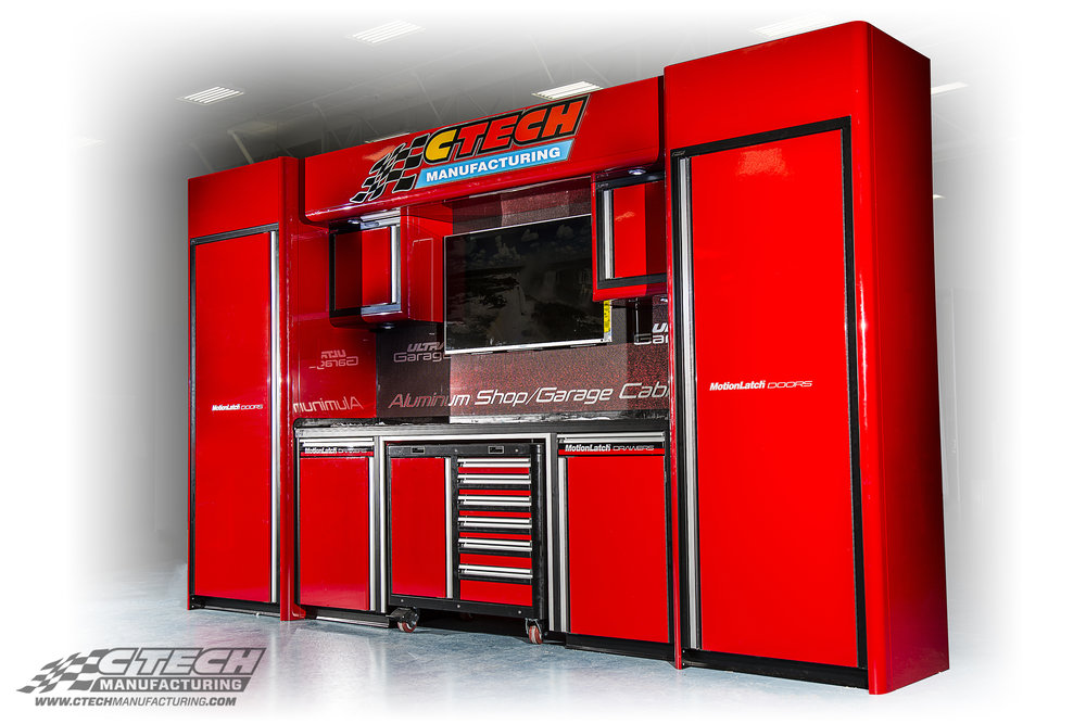 CTECH Ultra Garage cabinet systems are the most impressive, functional, customizable, highest-quality modular storage unit in the industry. This model shows off the aesthetic capabilities of our standalone Ultra series package, available in a variety of configurations. BOM 33231 Customer: Blain's Farm & Fleet