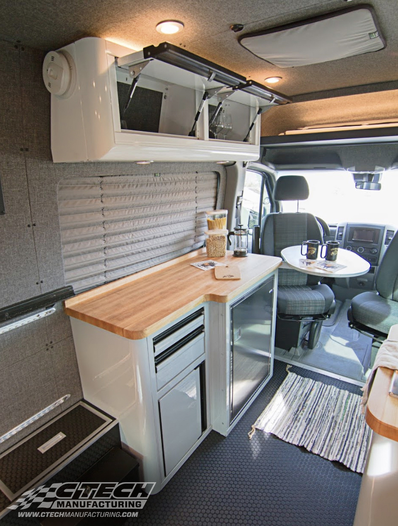 Take your camper or camper-van to the next level with CTECH cabinets, built to integrate necessary appliances and available with multiple countertop options to fit the desired look and functionality of your space. BOM 40488/40489 Customer: Tourig / Finney
