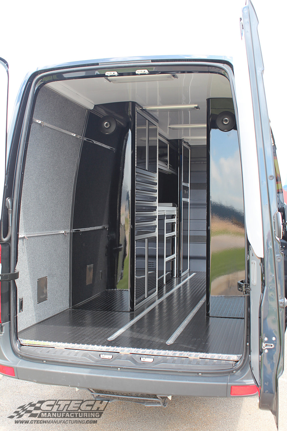 CTECH van cabinets represent a revolutionary new approach to mobile storage. The same cabinets that we use to build premium showrooms and garage spaces can be fitted to service trucks, vans, and trailers. BOM 14198 Customer: J3 Competition  / PSL Van