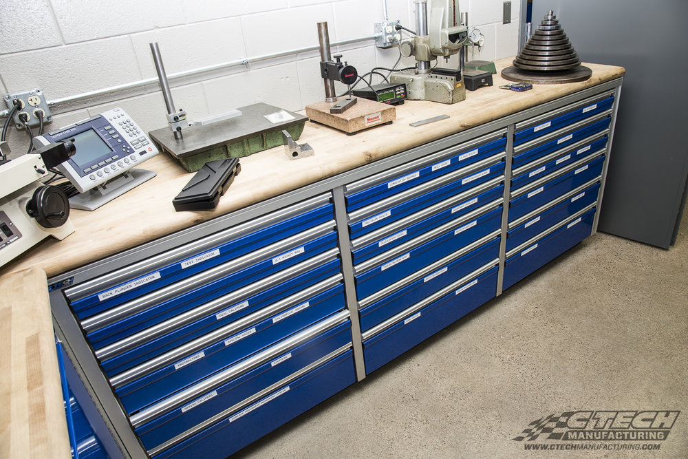 NorthCentral Technical College has optimized their lab space with CTECH MotionLatch drawers, engineered to support 250Lbs per drawer and available with a variety of countertop styles like butcher block, GasketLoc, granite, and laminate. BOM 42844