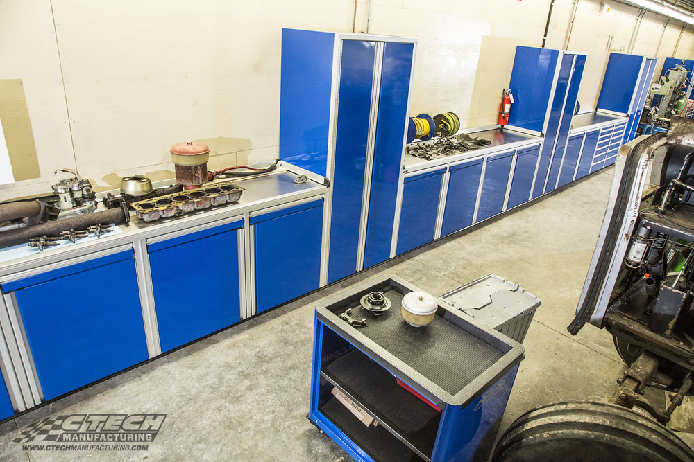"CTECH consistently delivers showroom-quality storage solutions, with modular shop cabinets available in many ""ready-to-order"" and custom configurations like this system built for NorthCentral Technical College."