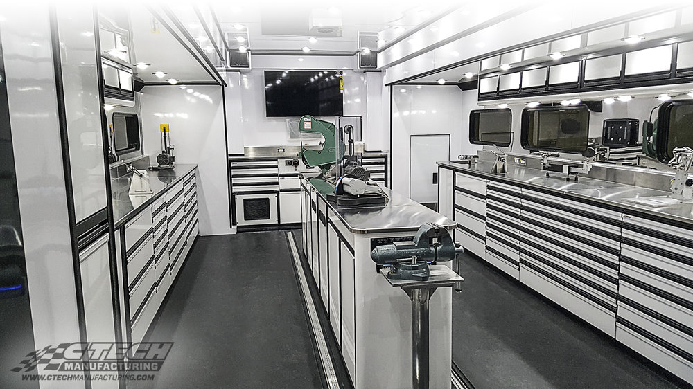Race-proven storage technology from CTECH is working hard in many other industries; like this mobile golf workshop made for PING Golf which features a fully functional equipment repair area upfitted with CTECH drawers, cabinets, and countertops. BOM 37723 Trailer: Featherlite