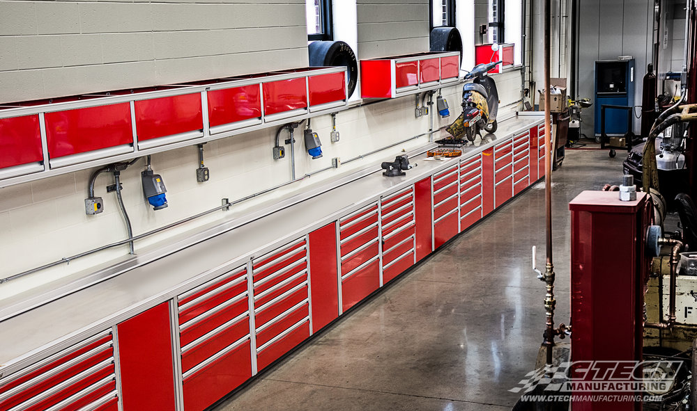 CTECH Pro Series shop cabinets come equipped with fingertip-accessible MotionLatch doors and drawers, giving the entire system an impressive, snag-free finish and unmatched tool storage accessibility. BOM 34348 Customer: Wausau East High School