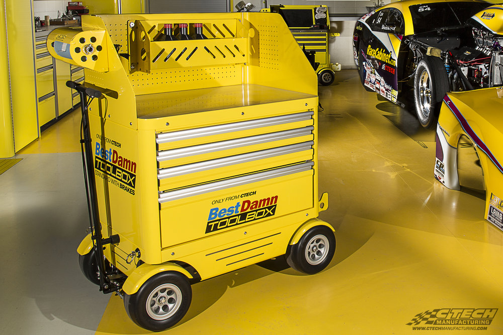 The BestDamn Toolbox by CTECH speaks for itself. Its hot rod looks complement its superior mobility via BadAss caster wheels, which never go flat and handle over nearly any terrain. The box itself is optimized for drag racing applications, as it comes equipped with a ProJack/EZ Lift rack.