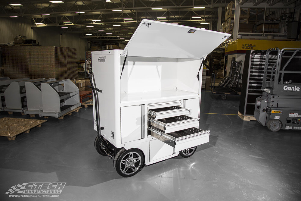 Crew Chief Carts by CTECH come standard with an enclosed work surface secured by a trigger-latch style door, along with MotionLatch drawers and plenty of chassis/cabinet storage!