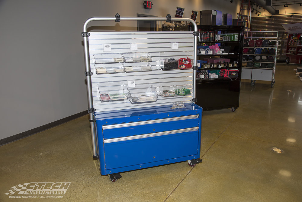 CTECH Caster Carts can be configured with a variety of slat wall, kiosk, hanger, drawer and cabinet options to transform them into the perfect retail display unit.