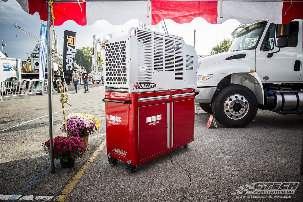 CTECH works hand-in-hand with other innovative companies to create dynamic storage solutions, like this double-decker caster cart/air compressor combo furnished by BOSS Air Compressors.