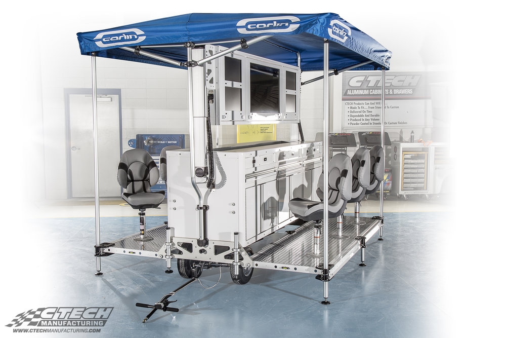 Timing & Scoring Carts by CTECH help your team keep a closer eye on your own cars, as well as the competition. Well-equipped workstations line the observation deck, which is expandable to accommodate additional seating.