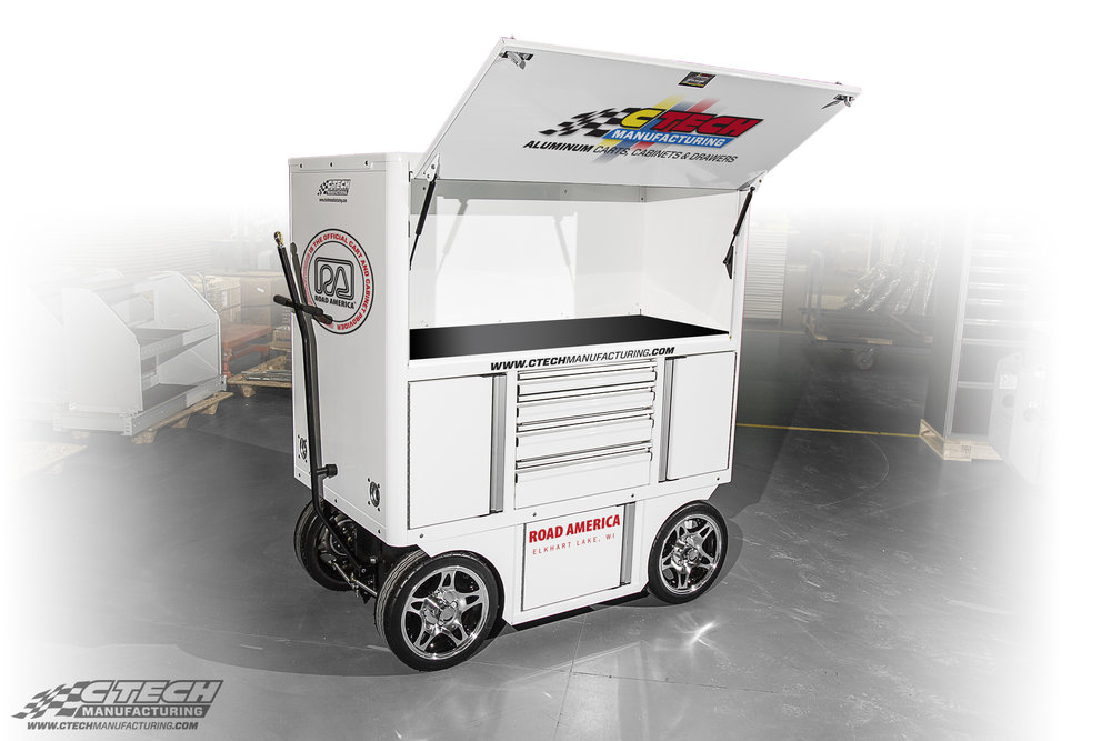 Virtually any CTECH cart is easily converted to an display unit with plenty of stock storage, like this Crew Chief Cart currently in use at the Road America Shop in Elkhart Lake, Wisconsin.