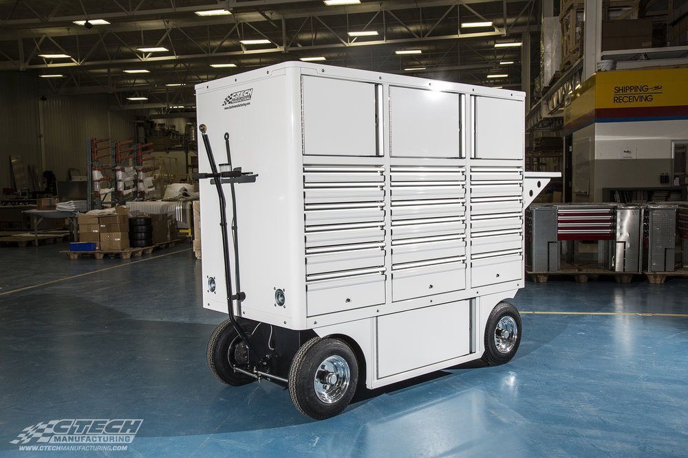 Sportsman Carts by CTECH offer dual-sided shelf/drawer storage with the option to add a flip-down workbench, or any other Blackline accessory, on the short ends of the chassis.