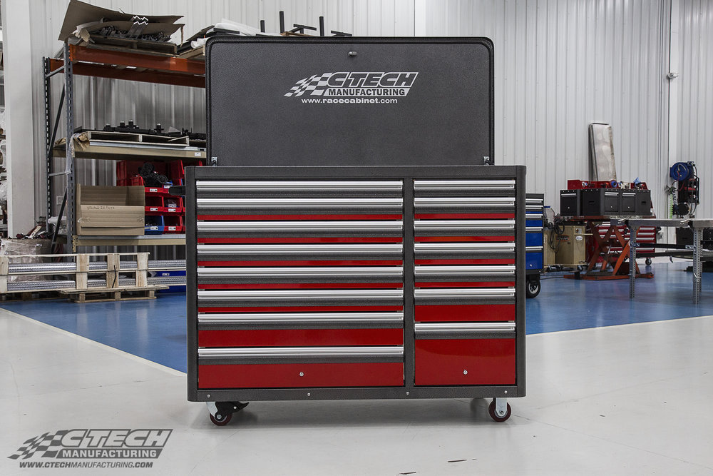 CTECH Caster Carts make an excellent mobile toolbox that outperforms standard steel rivals. Toolboxes are available in 10 striking standard powder coat colors, and plenty of accessories such as a locking flip-top lid, pegboard, and much more.