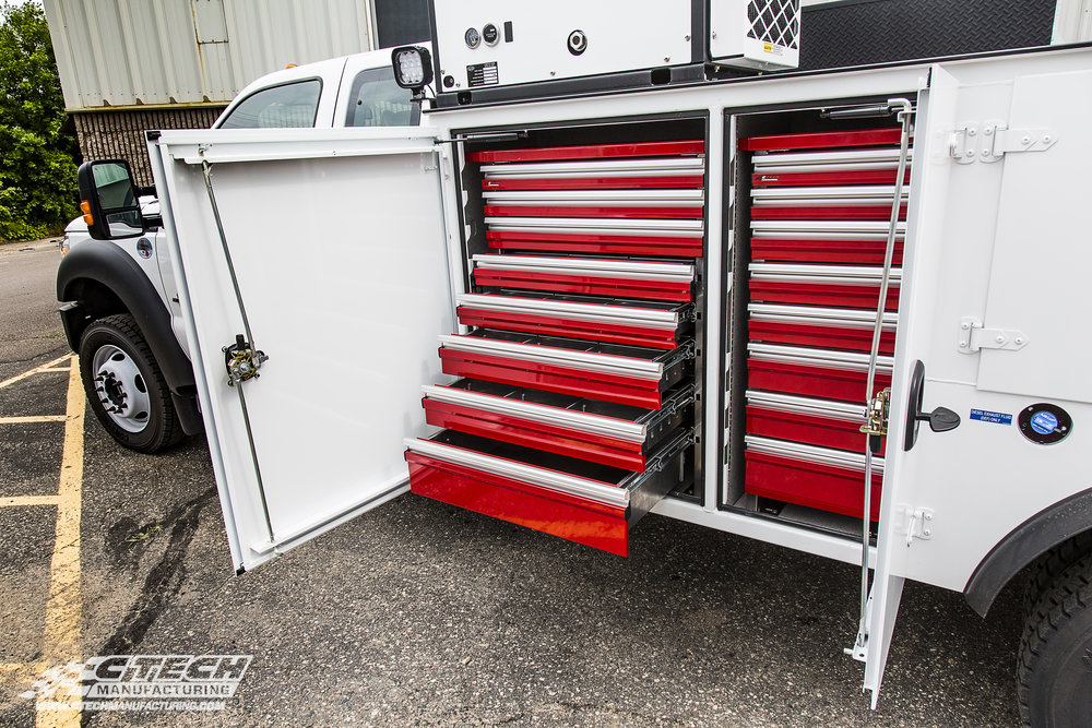 Ctech Tool Drawers offer optimal storage space, industry-leading accessibility, and extremely durable 5052 aluminum construction. All drawers are available in 5 standard colors, with custom colors always being an option.