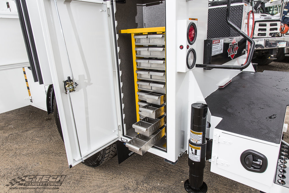 Smalll parts drawers are a popular rear verticle compartment option for many service truck bodies, shown here in a yellow powder coat option. Just like the rest of our drawer line, the small parts drawers are built with 5052 aluminum and a superior finish!