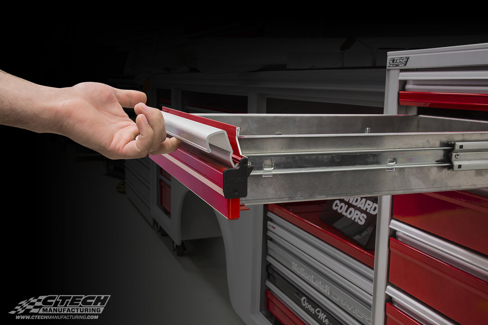 Our drawers are easy to get into, literally! MotionLatch technology comes standard on all of our products, providing a full-face latch that puts your tools at fingertip access!