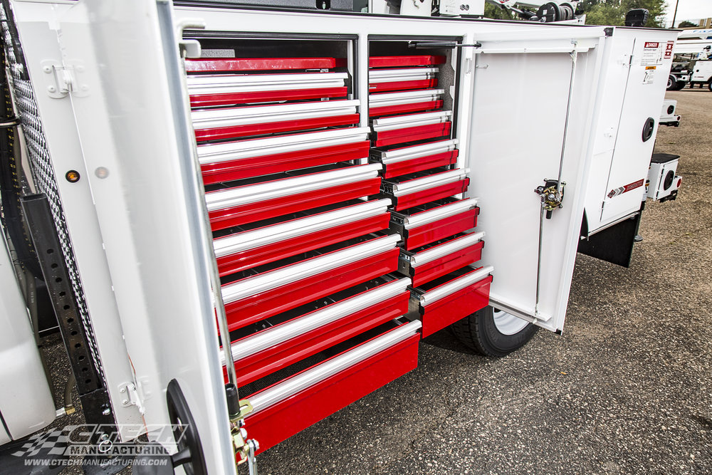 Ctech Tool Drawers are engineered to look as good as they perform. This IMT Dominator's forward compartments are equipped with a couple CTech Tool Drawers to make tools and equipment extremely accessible.