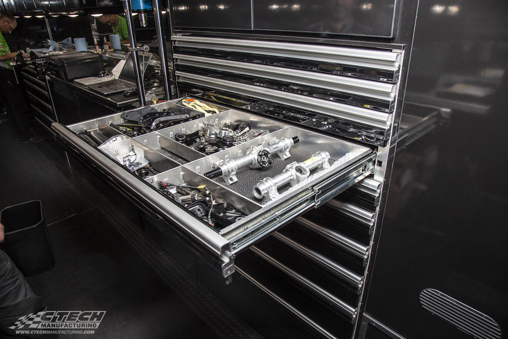 IndyCar teams have to bring a TON of parts with them to the racetrack. That means each one of those thousands of parts has to be organized and accounted for. They take it very seriously, which is why they chose CTech cabinets for their transporters!
