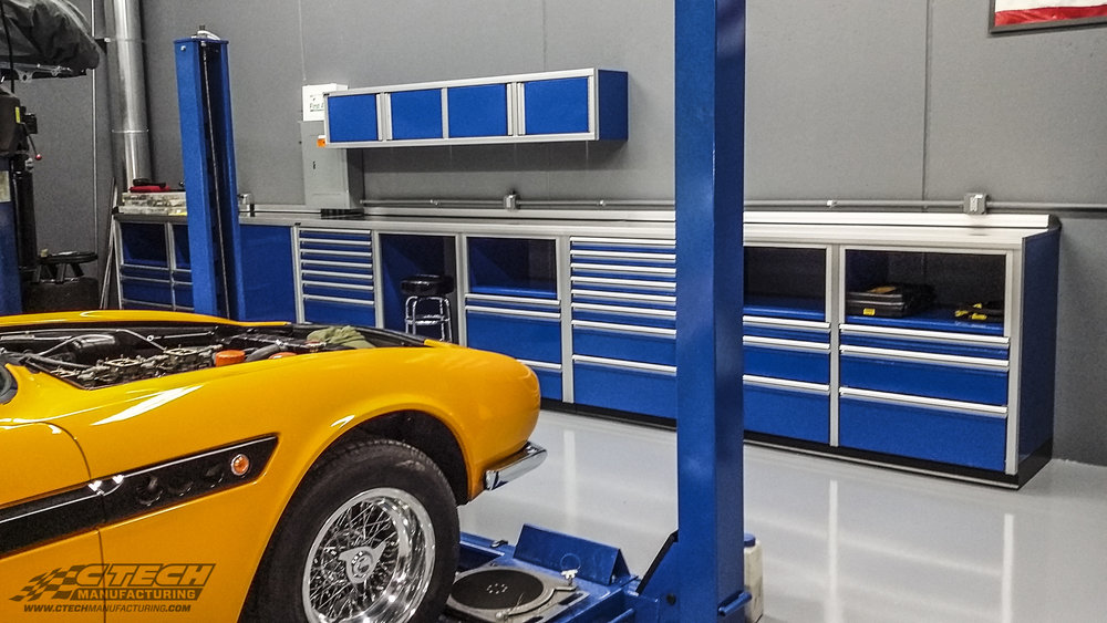 Blue P Series Custom Shop Counter with Upper Cabinet
