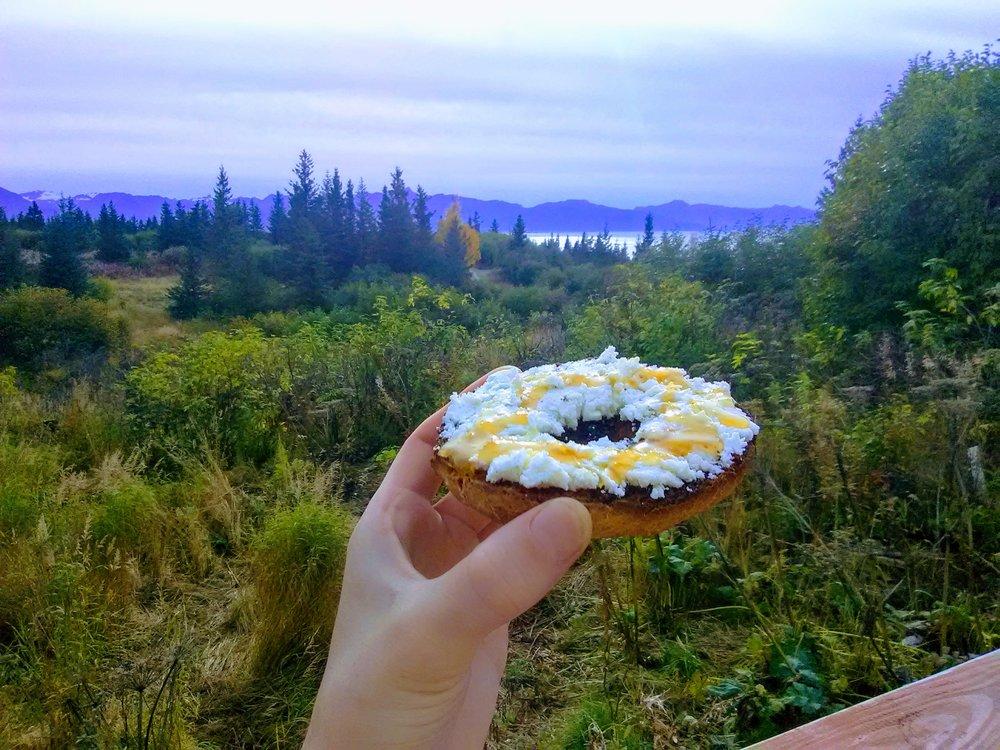 An Alaskan breakfast: goat milk chevre drizzled with local honey. Yum!