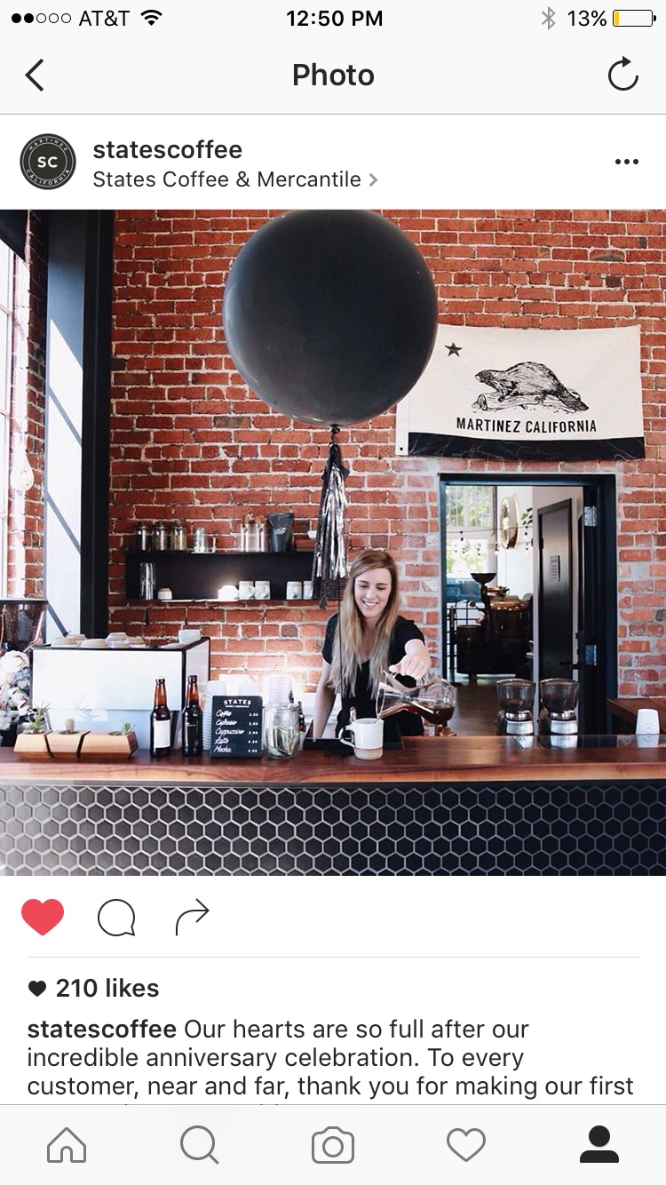 Beautiful Instagram post on States Coffee feed the next day.