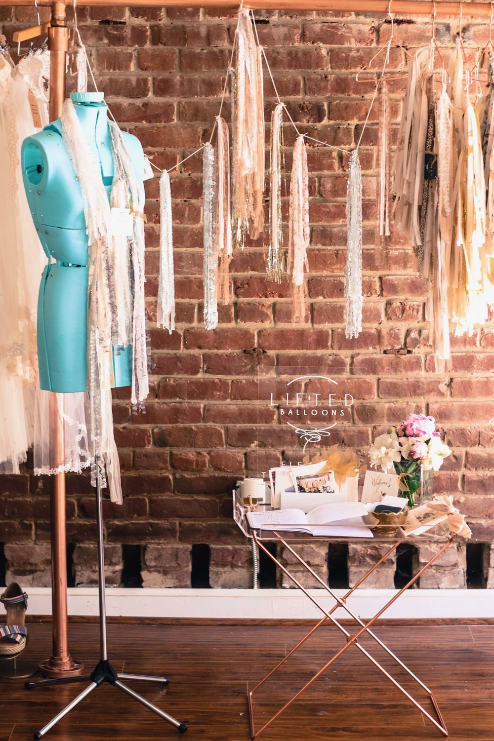 Betrothed Event, Couture Wedding Garland. This was my happy little spot to toast newly engaged brides looking for a one-of-a-kind wedding dress and garland to compliment it.